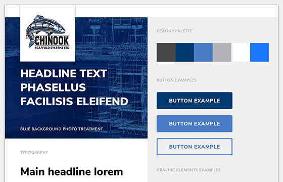 Graphic Design example of Chinook Scaffolding wordpress site style tile