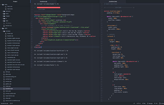 HTML & CSS screenshot of code I write in the Atom Editor
